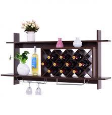 2018 the most popular giantex wall mounted wine rack organizer w metal glass holder multifunctional storage shelf