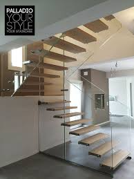 half turn staircase glass frame glass steps wooden steps palladio wood floating
