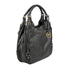 michael kors bedford large tote handbag in black distressed python