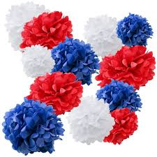 Diy Flower Balls Tissue Paper Set Of 18 Mixed Royal Blue Red White Diy Tissue Paper Pom Poms Flower Ball Wedding Birthday Party July 4th Holiday Decoration