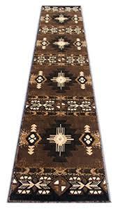south west runner area rug design c318 chocolate 2 feet 4 inch x 10 feet