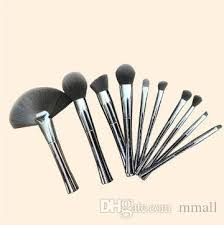 dhl smokey metalized makeup brush set with zipper bag metal aluminum electroplated gray handle fan foundation powder free ship makeup clean