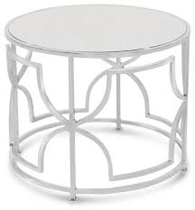 mirror side table. dedee hollywood regency nickel antique mirror side table transitional-side- tables-and-