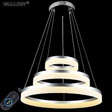 vallkin dimmable led pendant lights round diy styling acryl chandeliers lighting lamp fixtures with 3 ring ac100 240v ce ul fcc glass pendant lights copper