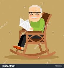 rocking chair clipart. Elderly Man In Rocking Chair Clipart