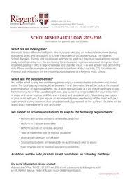 Admission Form For School Enchanting Music Scholarship Application Form 48 By The Regent's