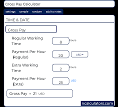 Time And Pay Calculator Gross Pay Calculator