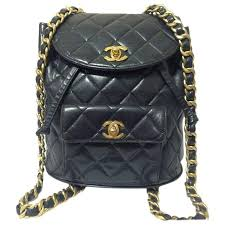 chanel quilted backpack. vintage chanel quilted black lamb leather backpack with gold chain strap and cc 1 chanel n