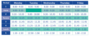Daily Time Table Daily School Timetable Broome Senior High School