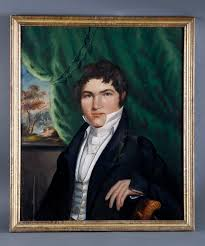 historically important portrait of robert fulton sitting by a window in clermont the livingston house watching the successful voyage of his invention