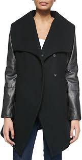 dawn levy 2 cece wool coat with faux leather sleeves
