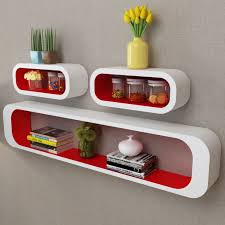 3 white red cubic wall shelves for