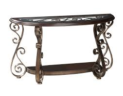 Standard Furniture Bombay Half Moon Glass Top Console Table in