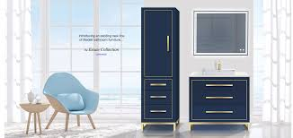 estate 36 inch vanity and linen cabinet both in sapphire blue and satin brass handles