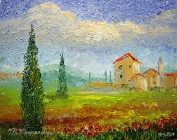 tuscany countryside with poppies 8 by 10 oil on canvas board all palette knife sept 6th 2010 sold collector in bethesda maryland a