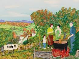 Female Artists in History - Grandma Moses (American painter) 1860 - 19611 Making Apple Butter, 1958 oil on cardboard 30.5 x 40.6 cm.(12 x 16 in.) signed Moses. (lower left); titled Making