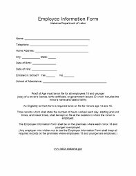 Employee Hire Forms 47 Printable Employee Information Forms Personnel