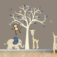cream tree decal denim color boy room wall decal jungle animal