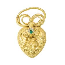a georgian gold heart shaped locket pendant with snake motif
