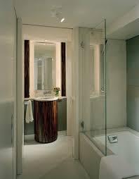 using a bath tub shield to open up a bathroom space