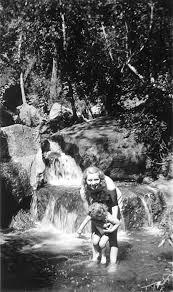SCVHistory.com RB0010   Bouquet Canyon   Swimming at Bouquet Falls, 1930s.