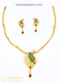 22k gold peacock necklace earring set with cz color stones 235