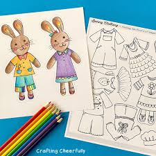 These printable paper doll clothes range from summery sleeveless dresses to stylish wrap skirts. Color Your Own Bunny Paper Dolls Free Printable Coloring Pages Crafting Cheerfully