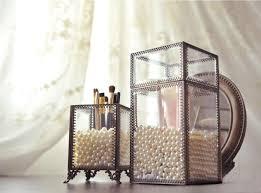 amazon putwo makeup organizer brush holder vine laced style make up brush holder with free white pearls large home kitchen