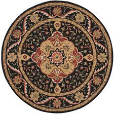 safavieh easy care black cream 6 ft x 6 ft round area rug