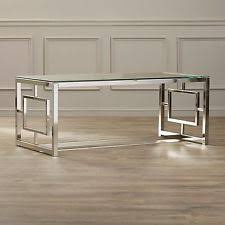 Glass Coffee Table Modern Metal Living Room Furniture Cocktail Chrome  Rectangle