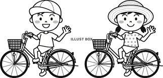 無料イラスト 夏の子供自転車モノクロ
