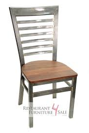 gladiator industrial clear coat full ladder back restaurant chair w reclaimed wood seat 3