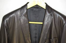 gucci by tom ford men fitted black leather jacket blazer eu 48 us 38