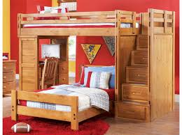 Image of: Loft Bed with Desk Underneath with Red Wall