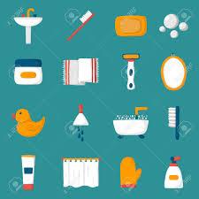 cartoon bathroom sink and mirror. Beautiful And Set Of Cartoon Bathroom Icons Bath Duck Toothbrush Towel Sink Intended Cartoon Bathroom Sink And Mirror O