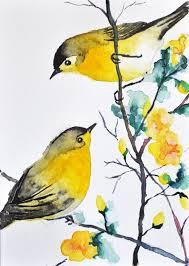 original watercolor bird painting 2 warblers
