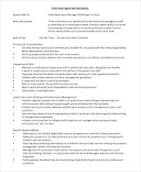 front desk agent job description