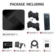 Máy chơi trò chơi video 4K -ULtraHD- Android TV- BOX 3D chơi game PS1,..  tích hợp 5600 Trò chơi với điều khiển không dây - Phụ kiện Gaming