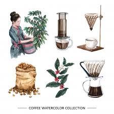 Coffee tree illustration premium vector. Creative Isolated Watercolor Coffee Drip Free Vector