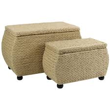 pair of large woven storage trunks