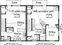 Quadplex Plans Narrow Lot House Plans Row House Plans F556 Quadplex Plans