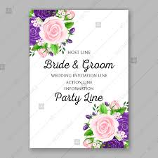 Wedding Invitation Card Template Purple Pink Rose Greenery Floral Vector Background Modern Floral Design