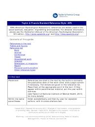 Taylor Francis Standard Reference Style Apa Apa Style Citation