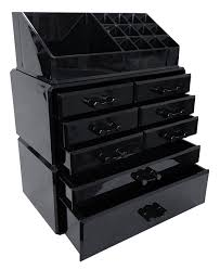 black acrylic makeup organizer drawers box make up cosmetic display storage case