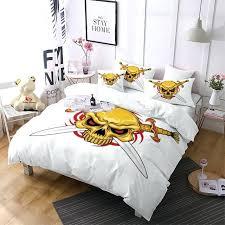 skull bedding pirate skull comforter bedding sets gold duvet cover set white king size bedding set