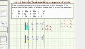ex solve a system of equation by writing an augmented matrix in rref 3x3 infinite sol