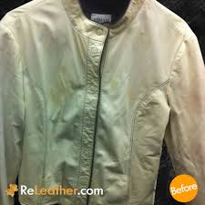 leather color restoration and spot removal for designer women s jacket before