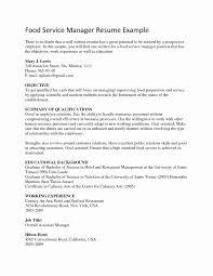 Resume Samples For Food Service Fresh Cover Letter Resume Food