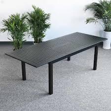 large modern 8 seater black metal top practical extending garden furniture dining table set 2