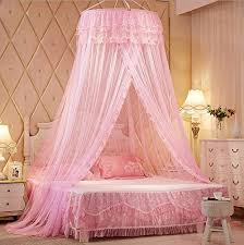 Pink Princess Round Lace Bed Canopies Mosquito Neting for Crib Twin Full Queen Bed